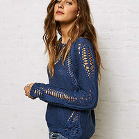 Don't Ask Why Distressed Crew Neck Sweater, Blue