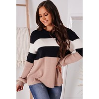 Keep It Current Color Block Sweater (Black/White/Tan)