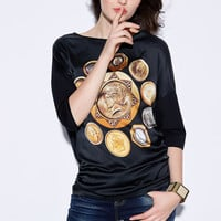Black Coin Print Sleeve Shirt