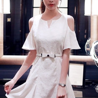 Cut-Out Lotus Sleeve Skater Dress with Belt