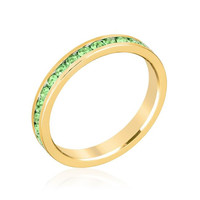Stylish Stackables Peridot Crystal Gold Ring, size : 09