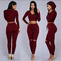 Pure Color Hole Hat Crop Top with Skinny Pants Two Pieces Set