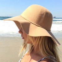Turning Heads Mocha Wool Braid Floppy Hat