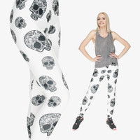 New 3d Print SKULLS WHITE Women  Leggings Summer Style Sport Black Milk Punk Rock Adventure Time  Pattern Casual Leggings