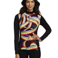 Hot Chillys Women's Micro Elite Chamois Print Front Zip-Tee