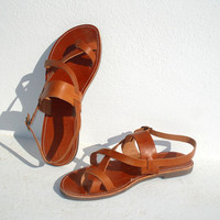 Handmade Roman Grecian leather sandals by AnaniasSandals on Etsy