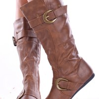 TAN FAUX LEATHER 2 BUCK ACCENT DESIGN BOOTS