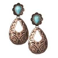 Women's J West Copper Aztec Hammered Earring With Turquoise