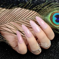 Extra Long STILETTO False Nails Pre-designed Curved Pink Marble Press On Nails including glue sticker Z716