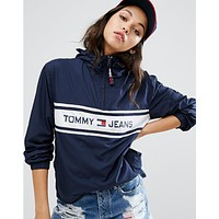 """ Tommy Jeans "" Fashion Hooded Zipper Cardigan Sweatshirt Jacket Coat Windbreaker Sportswear"