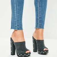Missguided - Grey Star Studded Platform Mule Heeled Shoes