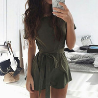 Fashion Casual Strappy Round Neck Short Sleeve Solid Color Romper Jumpsuit Shorts