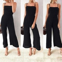 Fashion Strappy Long Playsuit Dress Summer Beach Casual Boho Jumpsuit