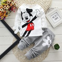 Boys Girls Clothing Sets Children Cotton Sport Suit Kids Mickey Minnie Cartoon T-shirt And Pants Set Baby Kids Fashion Clothes