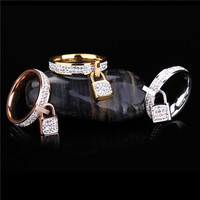 Stainless Steel Womens Rings 14K Gold Filled Silver Rose Gold Famous Brand Costume Unique Jewelry Girls Finger Rings Key Charm