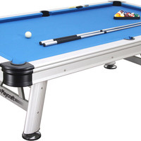 Playcraft Extera - Silver Outdoor Pool Table w/ Drop Pockets & Playing Equipment