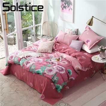 Solstice Home Textile Dandelion Pink Duvet Quilt Cover Pillowcase Bed Sheet Girl Kid Teen Bedding Sets Queen Twin King Bed Linen