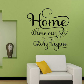 Home where our Story Begins Decal | Vinyl Wall Lettering | Wall Quotes