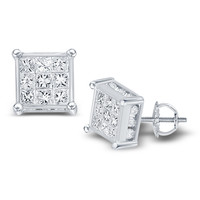 14kt White Gold Womens Princess Diamond Square Cluster Stud Earrings 1-1/2 Cttw
