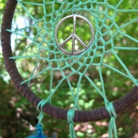Green and Blue Peace Sign Dreamcatcher