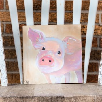 Memphis BBQ Cook Off Pig Handpainted on Wood by Taterbuggin'