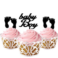 3 pcs in one set baby boy and foot CupCake toppers for party decor, baby shower cake toppers acrylic,  gift for new born baby