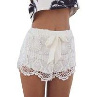 Creabygirls Sweet Scallop Hem Crochet Lace Shorts with Waistband Beach Short Pants
