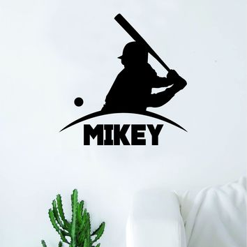 Custom Baseball Name Quote Decal Sticker Wall Vinyl Art Home Decor Inspirational Sports Teen Softball Ball Homerun Customized Personalized