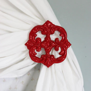 Curtain Tie Backs, Red, Curtian Tiebacks, Holdbacks, Cast Iron, Shabby Cottage Chic