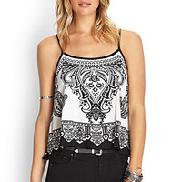 FOREVER 21 Paisley Print Crossback Top Black/Cream Large
