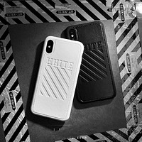 New off ow Twill stripes leather soft silicon cover case for iphone 6 6S S plus 7 7plus 8 8plus X 2108SS white pink phone cases