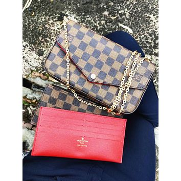LV Louis Vuitton Classic Women Leather Handbag Tote Shoulder Bag Satchel Three-Piece