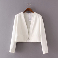 Women Long Sleeve Solid Business Casual Suit Outerwear Jacket Top a13183