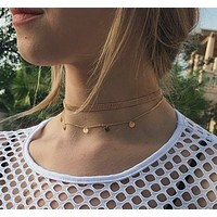 Summer metal copper beads sexy round necklace