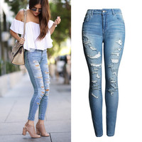High Waist Cotton Denim Stretch Bleach Ripped Jeans
