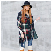 Plaid Button Down Blanket Scarf