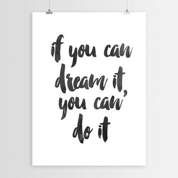 """Inspirational Print """"If You Can Dream"""" Walt Disney Quote Motivational Quote Typography Art Home Decor Typographic Print Walt Disney Download"""