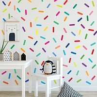 Rainbow Sprinkles Wall Stickers Confetti Wall Decals Sprinkle Wall Decals Rainbow Nursery Decals Eco Friendly Removable Wall Stickers