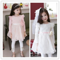 Children Clothes Spring Dress Children Clothes Girls Spring Lace and Floral Print Dress New Kids Elegant Long Sleeve and Round Collar Dres