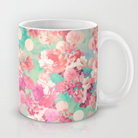 Romantic Pink Retro Floral Pattern Teal Polka Dots Mug by Girly Trend | Society6
