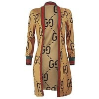 GUCCI Classic Fashionable Women Long Sleeve Cardigan Sweater Coat