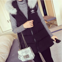 """Adidas"" Women Fashion Hooded Zip Cardigan Sleeveless Down Vest Jacket Coat"
