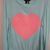 Forever 21 Women's hacci long sleeve  printed crew neck top / mint heart Sz S