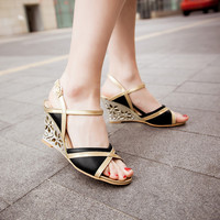 Open Toe Ankle Straps Fretwork Heels Wedge Sandals 4516