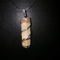 B Brown African Zebra Jasper Stone Wire Wrapped Silver Plated Necklace