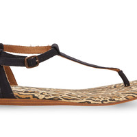TOMS Black and Gold Canvas Ocelot Women's Playa Sandals Yellow