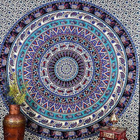 Mandala Blue Indian Tapestry Wall Hanging Printed Bed Sheet Decor Art DBS098