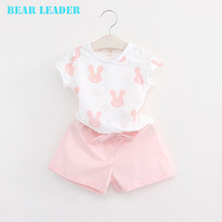Bear Leader Girls Clothes 2016 Brand Girls Clothing Sets Kids Clothes Cartoon Rabbit Clothing Toddler Girl Tops+Shorts 2Pcs Suit