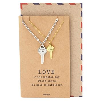 Desiree Matching Key Pendant Necklace Relationship Goals Gifts with Greeting Card