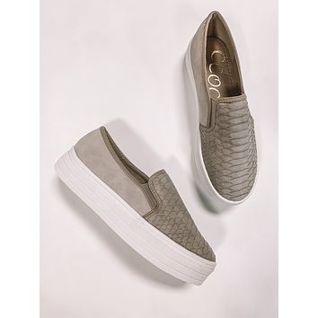 Taupe Snake Slip On Sneakers